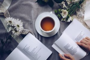 pastoral care coffee with books of poetry